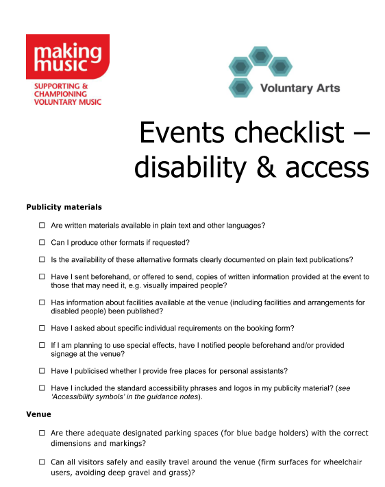 Voluntary Arts events checklist