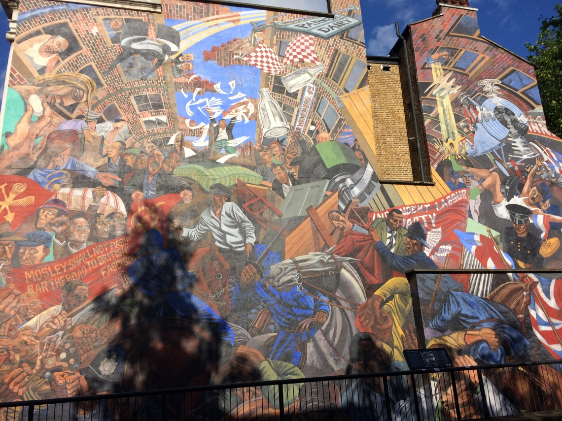 The mural commemorating the 'Battle of Cable Street' in East London