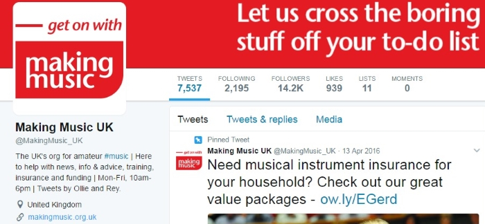 the Making Music Twitter profile