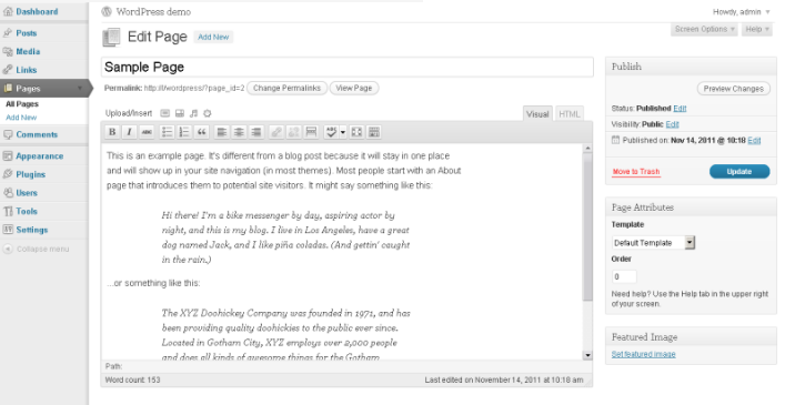 A view of the Wordpress admin interface for updating content