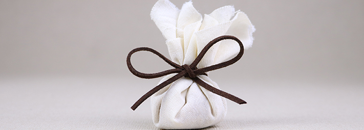 A tied gift bag
