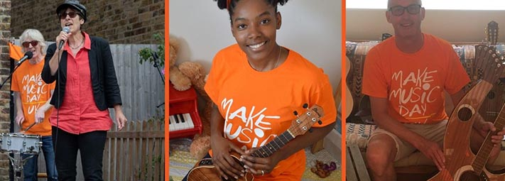 Participants in orange Make Music Day t-shirts