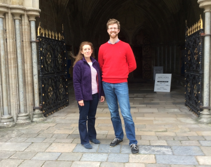 Michelle Nova and Ed Scolding on a visit to Christchurch Priory, Dorset