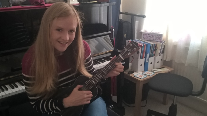 Composer Angela Slater with her uke
