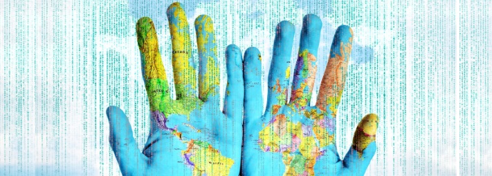 a pair of hands, palms upwards, with a map of the world superimposed on them