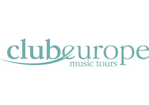 club europe logo - blue lettering with 'club' underlined and 'music tours' as a subheading