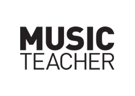 Music Teacher logo - black lettering in capitals with bold 'music' on top of 'teacher'