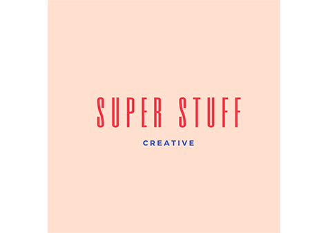 super stuff logo - red lettering with blue 'creative' lettering underneath on pink background