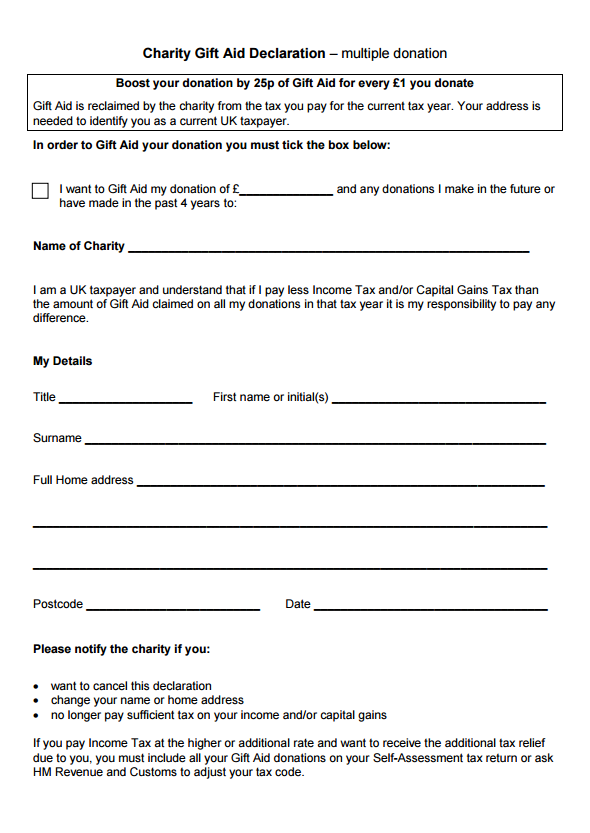 Gift aid declaration template making music for Declaration document template