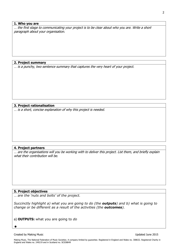 template for a project plan