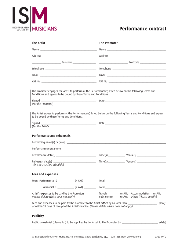 musicians contract template - ism model contract for working with professional musicians