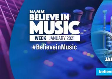 Believe in Music Week logo on blue background with brass instruments