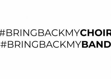#BringBackMyChoir // #BringBackMyBand hashtags black on white background