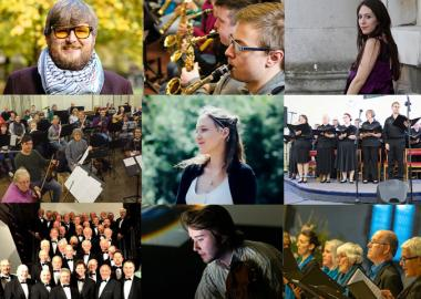 collage of all people, all groups and music creators, in adopt a music creator project