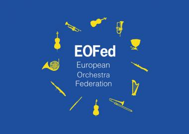 Yellow instruments on blue background in circle around text saying 'European Orchestra Federation'
