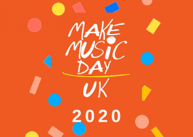 Make Music Day UK logo on orange background surrounded by colourful confetti