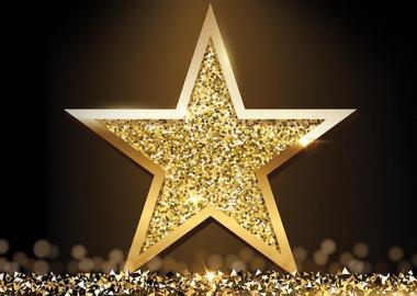 A gold, glittery star