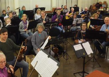 Newcastle-under-Lyme Community Orchestra members meet for an in-person rehearsal before coronavirus restrictions