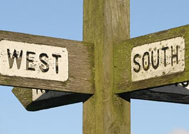 A wooden signpost with four arms pointing north, west, south and east