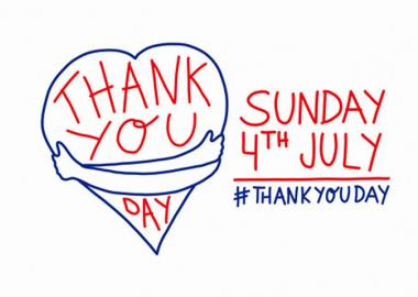Thank You Day 4 July logo of arms embracing heart, with social hashtag #ThankYouDay