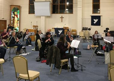 bury st edmunds concert band's socially distanced rehearsal