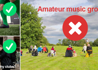 Three-part image showing an amateur choir rehearsing in a field overlaid with a red cross and text 'Amateur music groups?', men playing football overlaid with green tick and text 'Amateur sports?', two men taking pictures overlaid with green tick and text 'Photography clubs?'