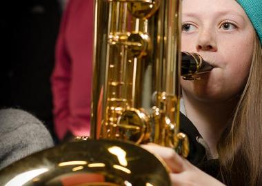 Emma, bass saxophonist for Aberdeenshire Saxophone Orchestra
