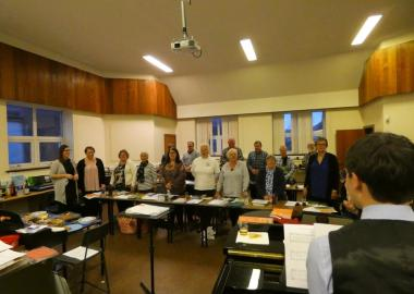 Ugie Voices rehearse at Petergead Academy, pre-pandemic
