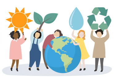 People hold up natural objects like plant, raindrop and embrace planet