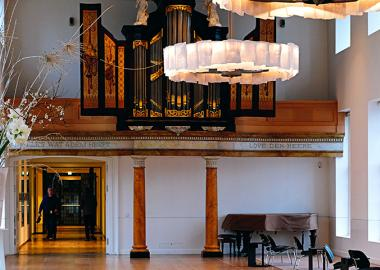 A community space with organ and piano